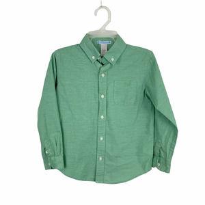 Janie & Jack Green Cotton Button Down Shirt